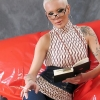 Smart and Alluring Tgirl Blondie Johnson plays with her meat stick while reading an erotic story